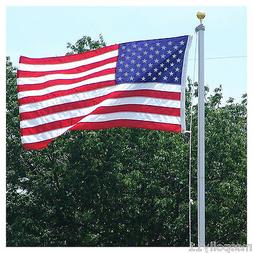 3/'X5/' FLAG /& 18 FT.VALLEY FORGE STEEL FLAGPOLE W// 2 U.S CAR ANTENNA FLAGS 1