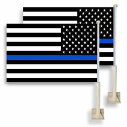 2 Pack Lot 12x18 USA Thin Blue Line Police Car Flag FLAGS WI