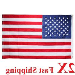 2 packs 3x5 Ft American Flag w/ Grommets  USA United States