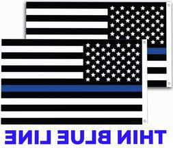 2 PC QUALITY Thin Blue Line American Police Flag 3X5 FADE RE