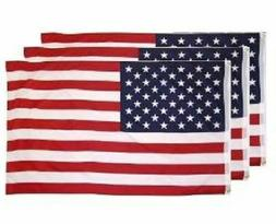 3-Pack 3x5 American Flags w/ Grommets ~ USA United States of
