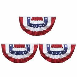 3-Pack Patriotic American Flag Bunting Pleated Fan USA Flag