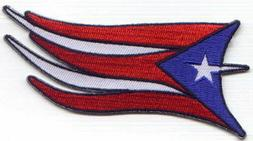 """3 Pcs Puerto Rico Flag Waving Embroidered Patches 4""""x2"""" iron"""