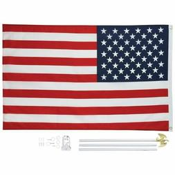 New 3'x5' US FLAG POLE KIT Aluminum Flagpole USA America