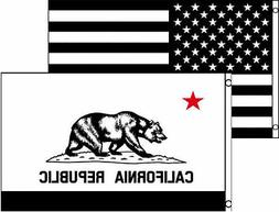 3x5 3'x5' Wholesale Combo Black White USA & State Of Califor