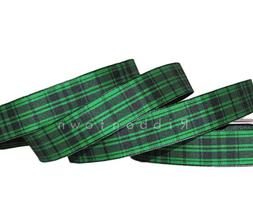 5 Yards St. Patrick's Day Green Black Plaid Wired Ribbon 7/8