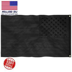 All Black American Flag 3x5 ft Embroidered USA Blackout Tact