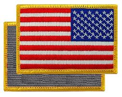 American Flag Embroidered Tactical Patch Gold Border w/ VELC