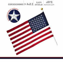 American Flag US | 2.5x4 ft | POLE SLEEVE Embroidered Stars
