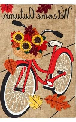 """Autumn Bicycle  """"Burlap"""" House Flag -  28""""x44"""" by Evergreen"""