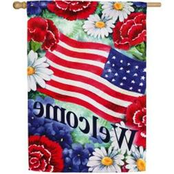 Evergreen Blue, White & Welcomes Patriotic Double Sided Sued