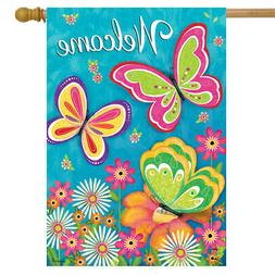 """Butterfly Garden Spring House Flag Welcome Floral 28"""" x 40"""""""