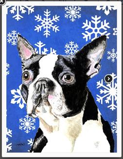 Caroline's Treasures Outdoor House Flag Boston Terrier Winte