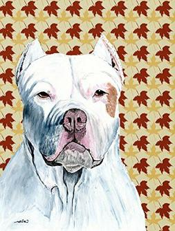 Caroline's Treasures Pit Bull Fall Leaves Portrait Flag, Sma