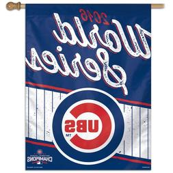 """CHICAGO CUBS 2016 WORLD SERIES N.L. CHAMPIONS 27""""X37"""" BANNER"""
