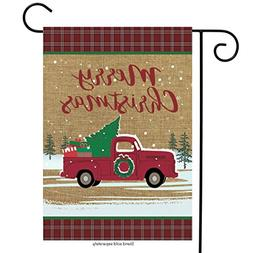 Briarwood Lane Christmas Truck Burlap Garden Flag Holiday 12