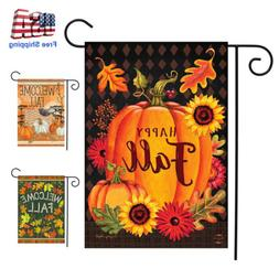 Double Sided Happy Fall Garden Flag Pumpkins Sunflow Welcome