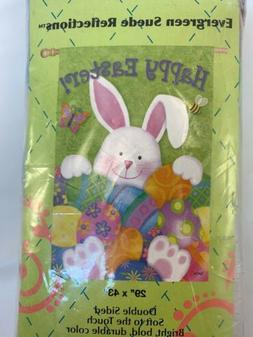 Evergreen Easter Bunny & Eggs  Double Sided Suede  House Fla