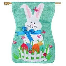 Evergreen Easter Bunny Double Sided Sculpted Burlap House Fl