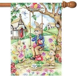 Toland Home Garden Easter Bunny Swing 28 x 40 Inch Decorativ