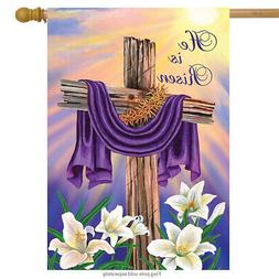 Easter Cross House Flag Religious Holiday He Is Risen Briarw