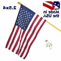 Embroidered American Nylon Flag Kit with Wood 5ft Pole - FLA