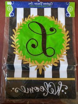 embroidered monogram l welcome garden flag double
