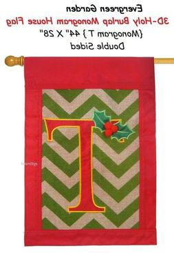 """Evergreen 3D Holy Burlap """" T """"  Monogram Double Sided House"""
