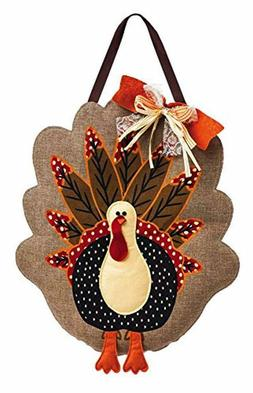 Evergreen Flag Adorned Turkey Burlap Door Decor