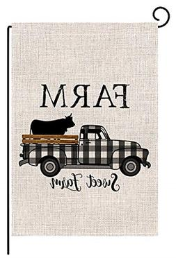 BLKWHT Farm Sweet Farm Buffalo Plaids Cow Truck Small Garden