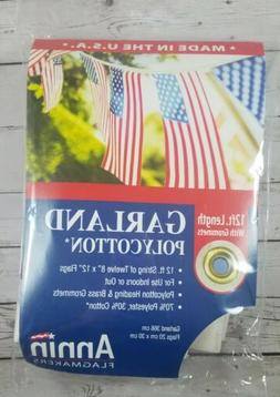 "ANNIN FLAGMAKERS 12 Foot Garland with 8"" x 12"" American flag"