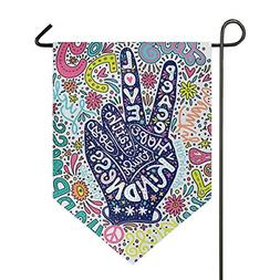 ALAZA Floral Peace Sign Gesture Garden Flag Welcome Home Hou