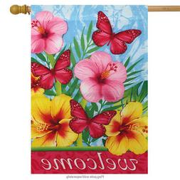 """Floral Welcome Spring House Flag 28"""" x 40"""" Briarwood Lane"""
