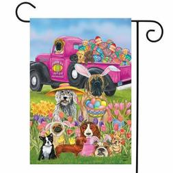 """FM136 CUTE EASTER PUPPY DOGS EGGS TULIPS  GARDEN FLAG 12"""" X"""