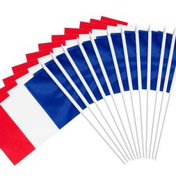 Anley France Stick Flag, French 5x8 inch Handheld Mini Flag