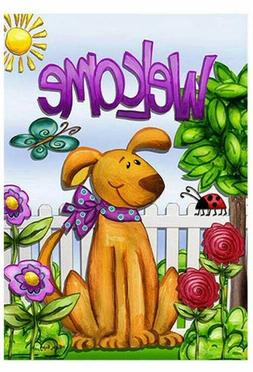 Garden Flag- New- Welcome Spring Summer Dog- Double Sided Ca