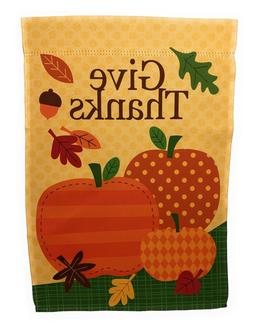 """Give Thanks Thanksgiving Flag, Double Sided, 12"""" x 18"""""""