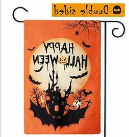 Aerwo Halloween Garden Flag 12×18 Inch Double-Sided Happy H