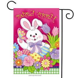 "Happy Easter Bunny Garden Flag Decorated Eggs Tulips 12.5"" x"