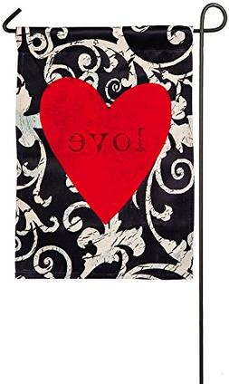 Evergreen Heart of Love Suede Garden Flag, 12.5 x 18 inches
