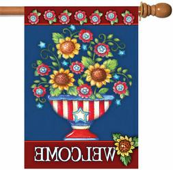 TOLAND HOME GARDEN Sleeved House Flag 28 x 40 AMERICAN WELCO