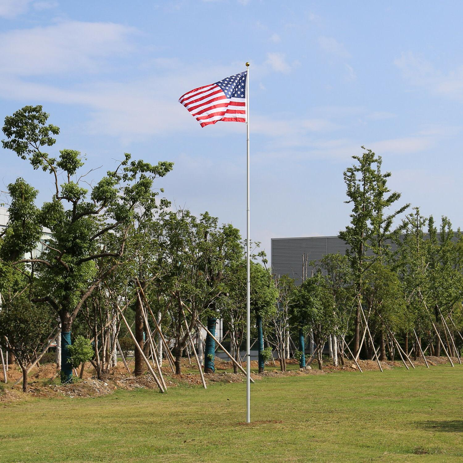 16/20/25ft Aluminum With 2 Flag