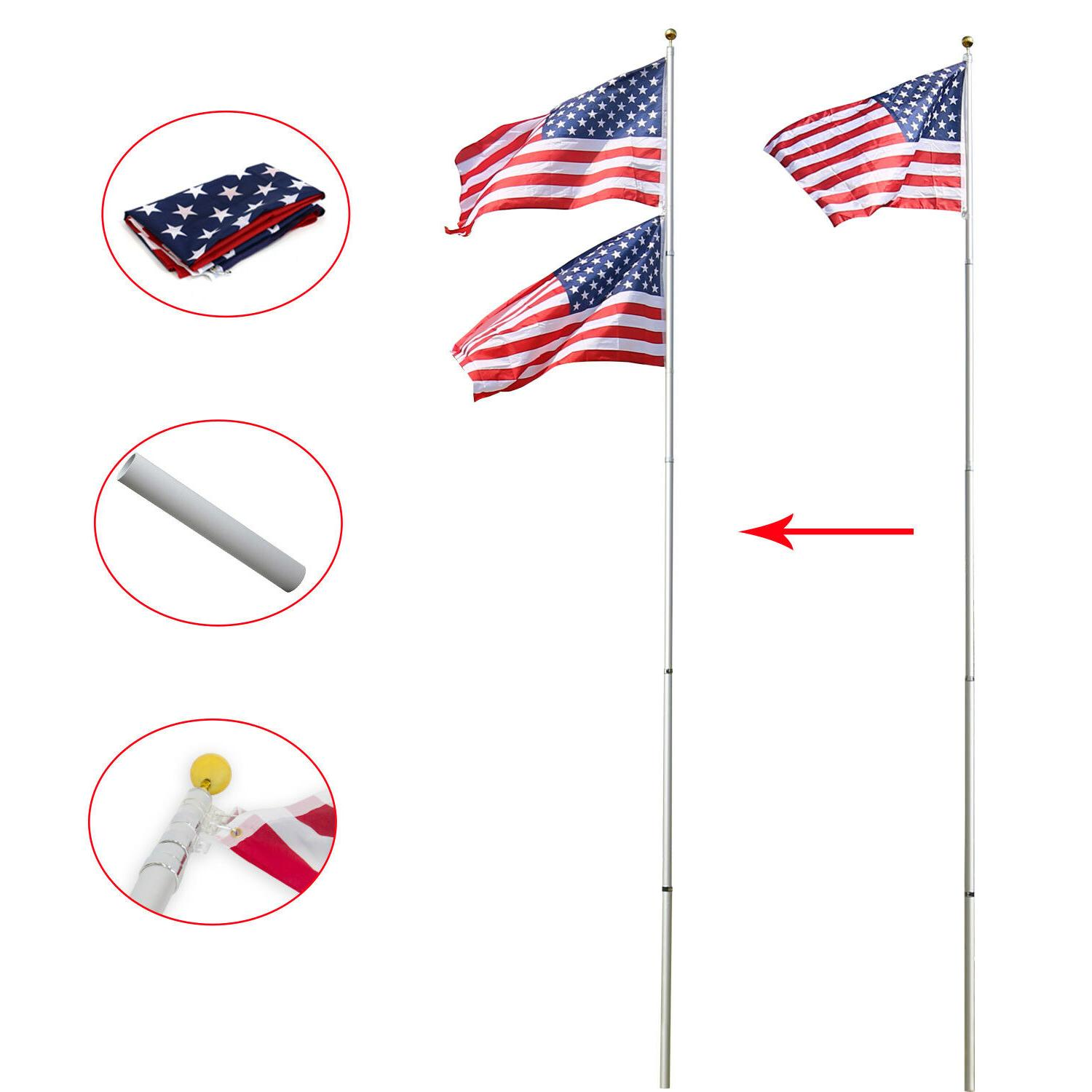16/20/25ft Pole Aluminum With 2 Fly