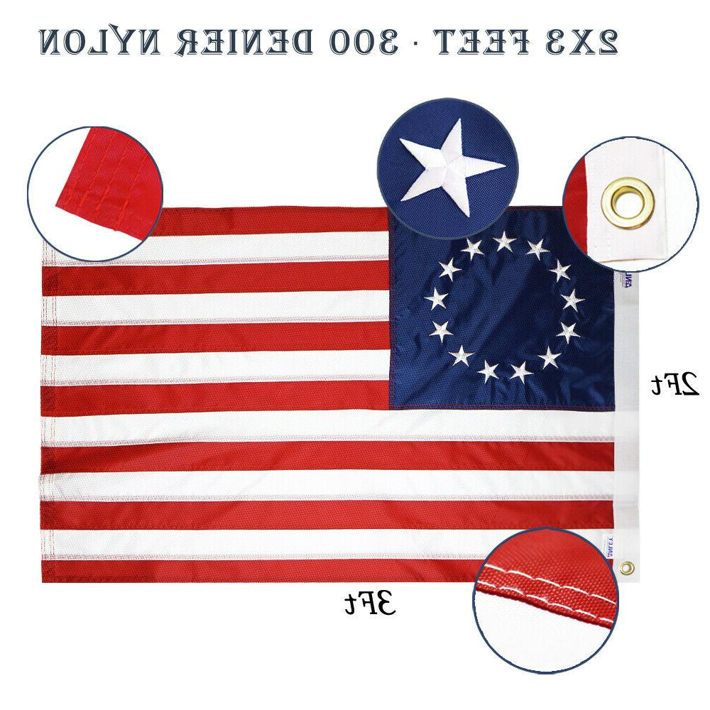 Anley 2x3 Embroidery American Ross Flag Nylon Embroidered Stars Sewn