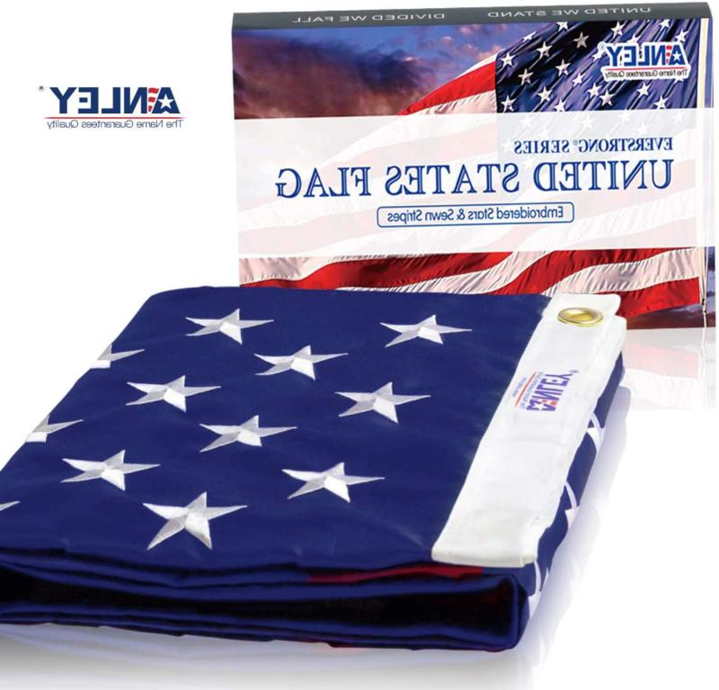 Anley Us Flag 4X6 Foot Heavy Duty Nylon - Embroidered