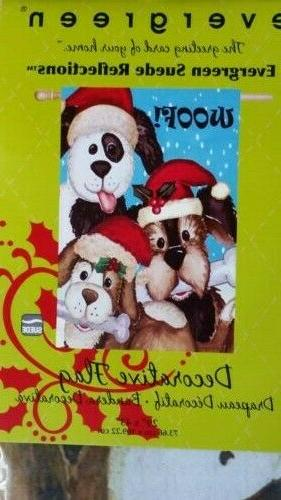 Evergreen 'Christmas Dogs' Suede Reflections House Flag 29
