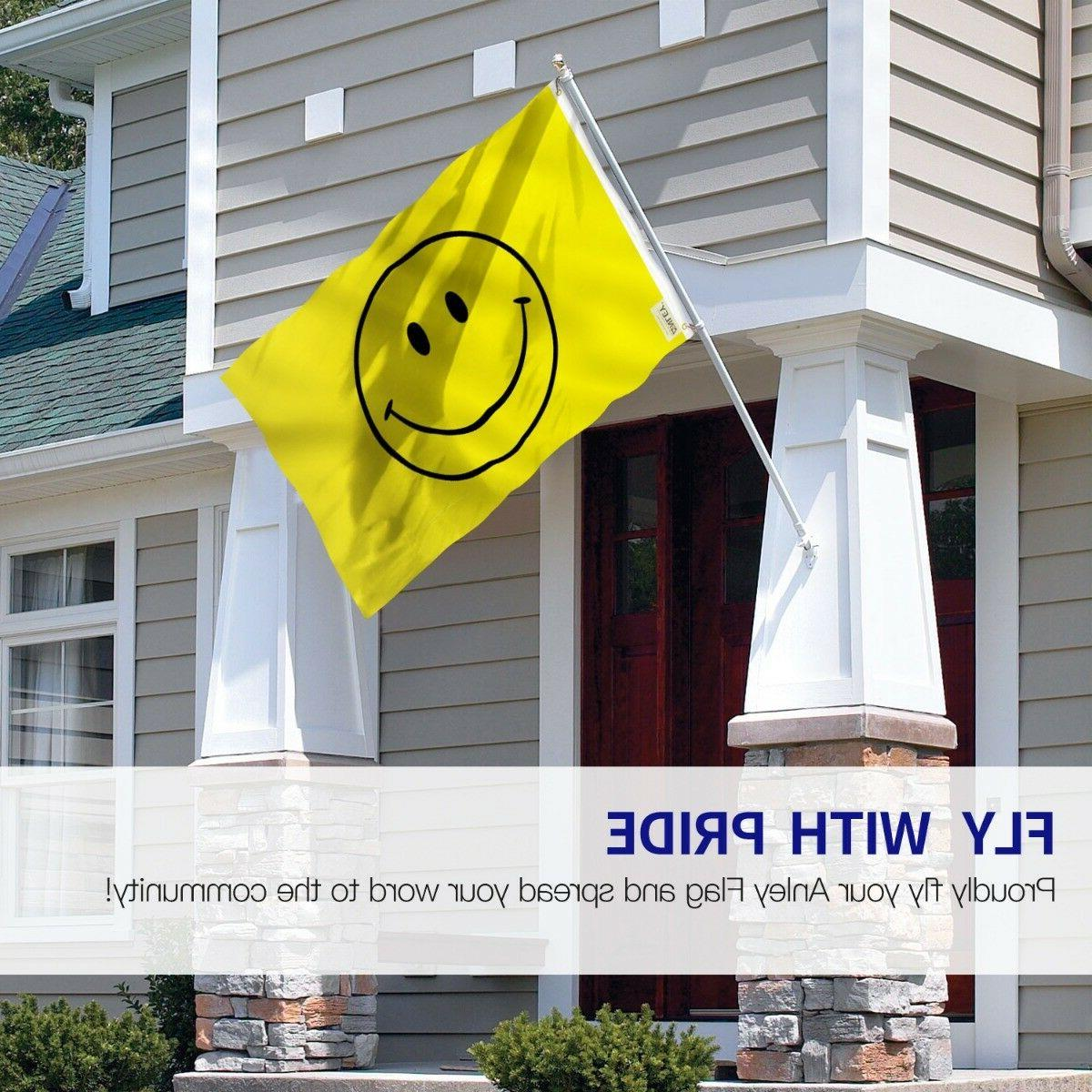 Anley Breeze Foot Yellow Smiley Face Flag Happy Face Flags