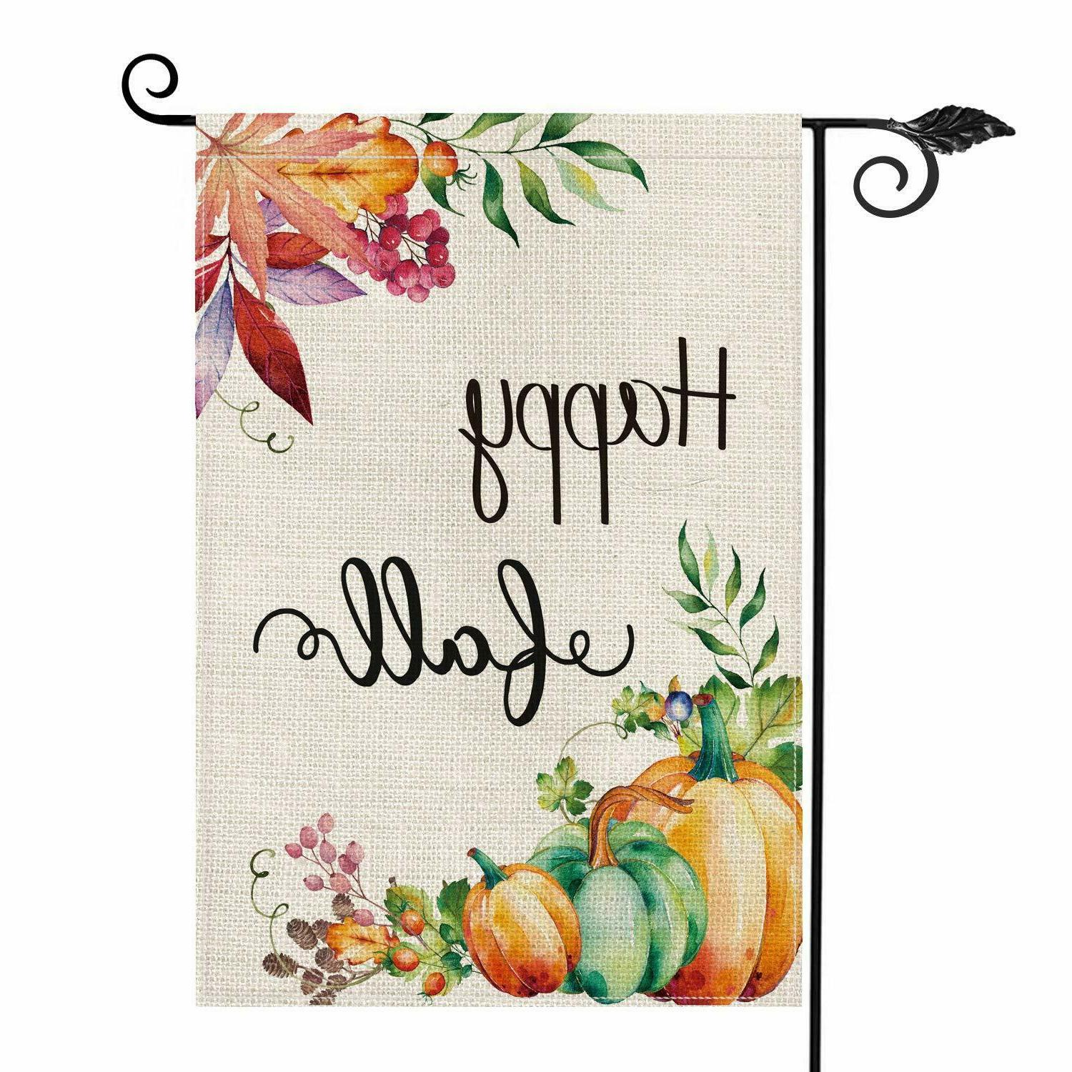 happy fall garden flag vertical double sided
