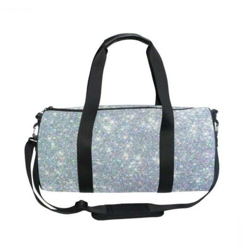 hipster shiny glitter stars sports gym duffel