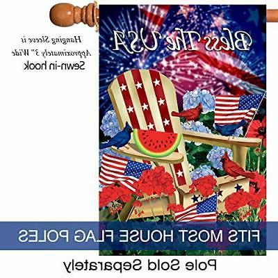 Morigins Bless The USA Patriotic Double Sided House Flag,USA